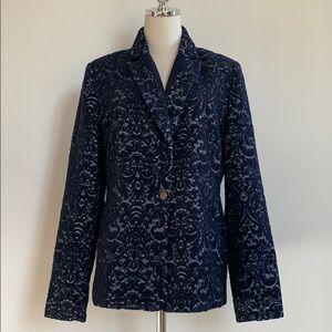 CAbi Navy Jacquard Wool Blend Lined Jacket Size 12